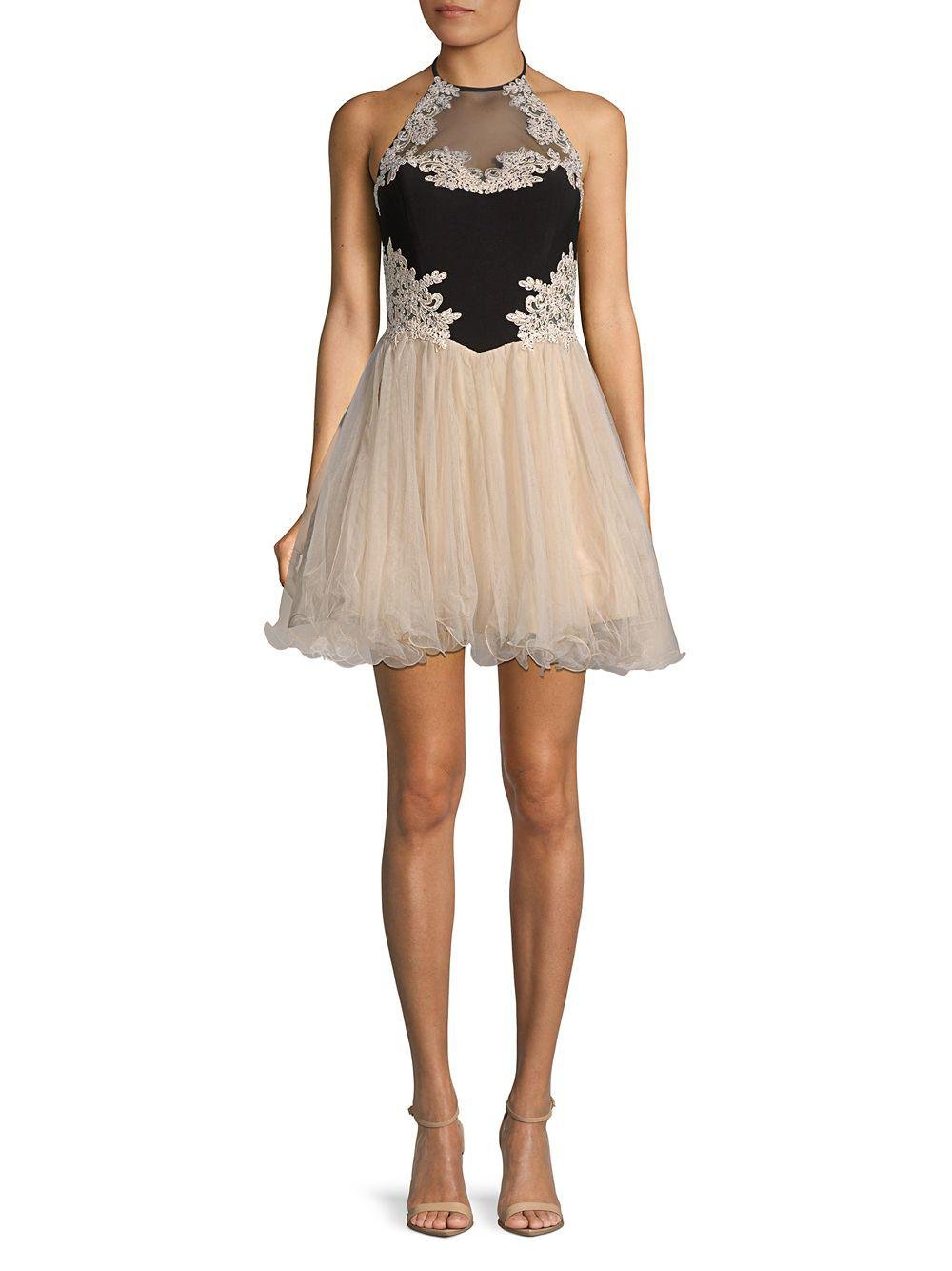 3aa0e0cac28 Lyst - Blondie Nites Embroidered Mini Fit- -flare Dress in Natural