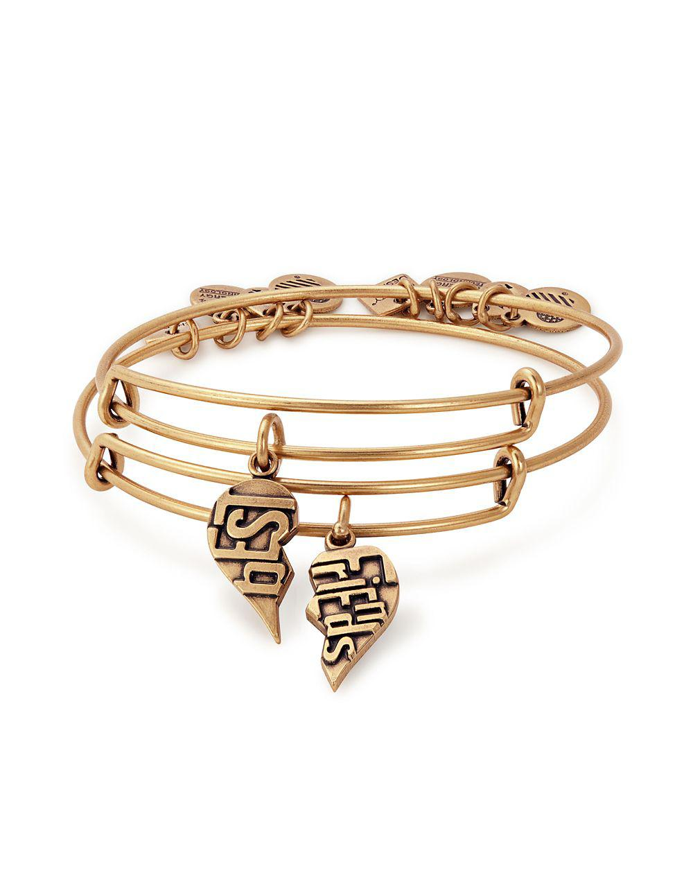 Alex And Ani Women S Metallic Set Of Two Valentines Day Best Friends Charm Bangle Bracelets