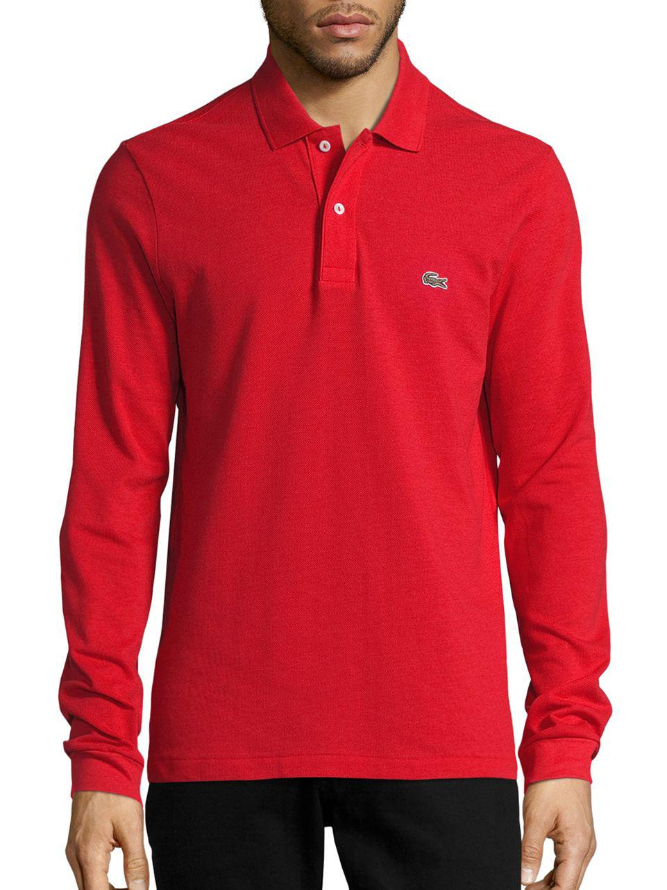 Lyst Lacoste Pique Polo Shirt In Red For Men