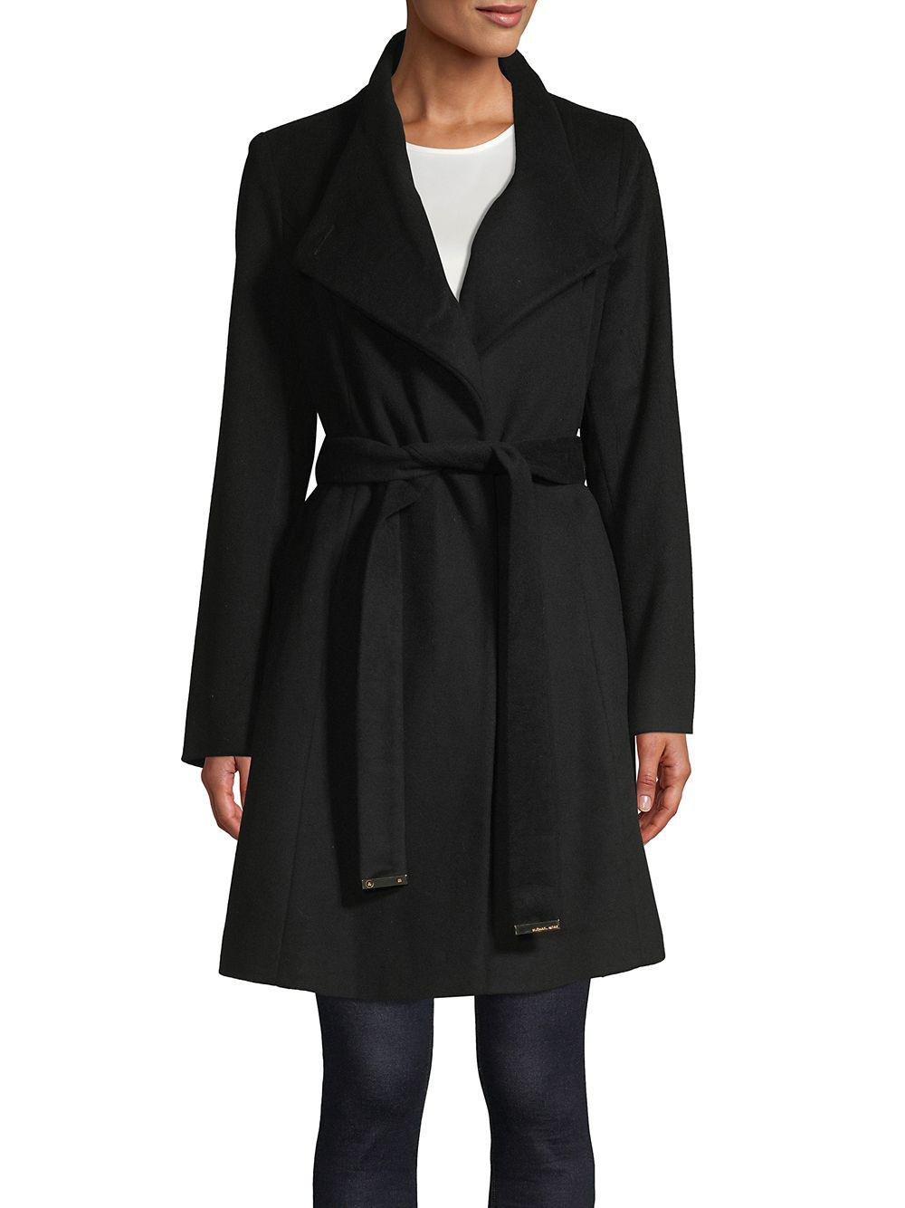 d391f66cbc3 Lyst - Michael Michael Kors Belted Wool-blend Wrap Coat in Black