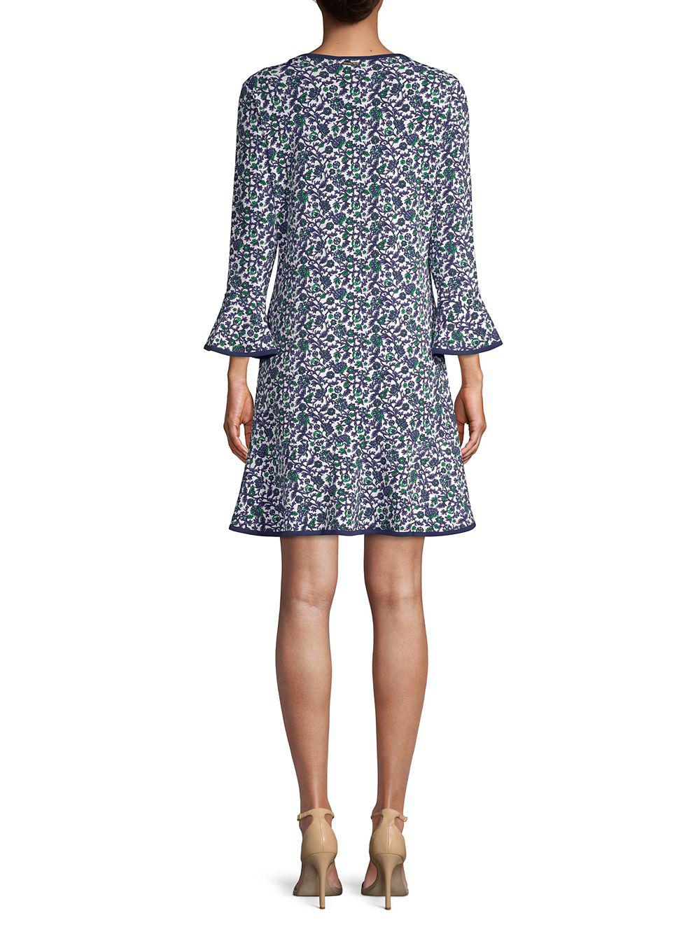 667b5596aaf1f Lyst - Michael Michael Kors Floral Bell-sleeve A-line Dress in Blue