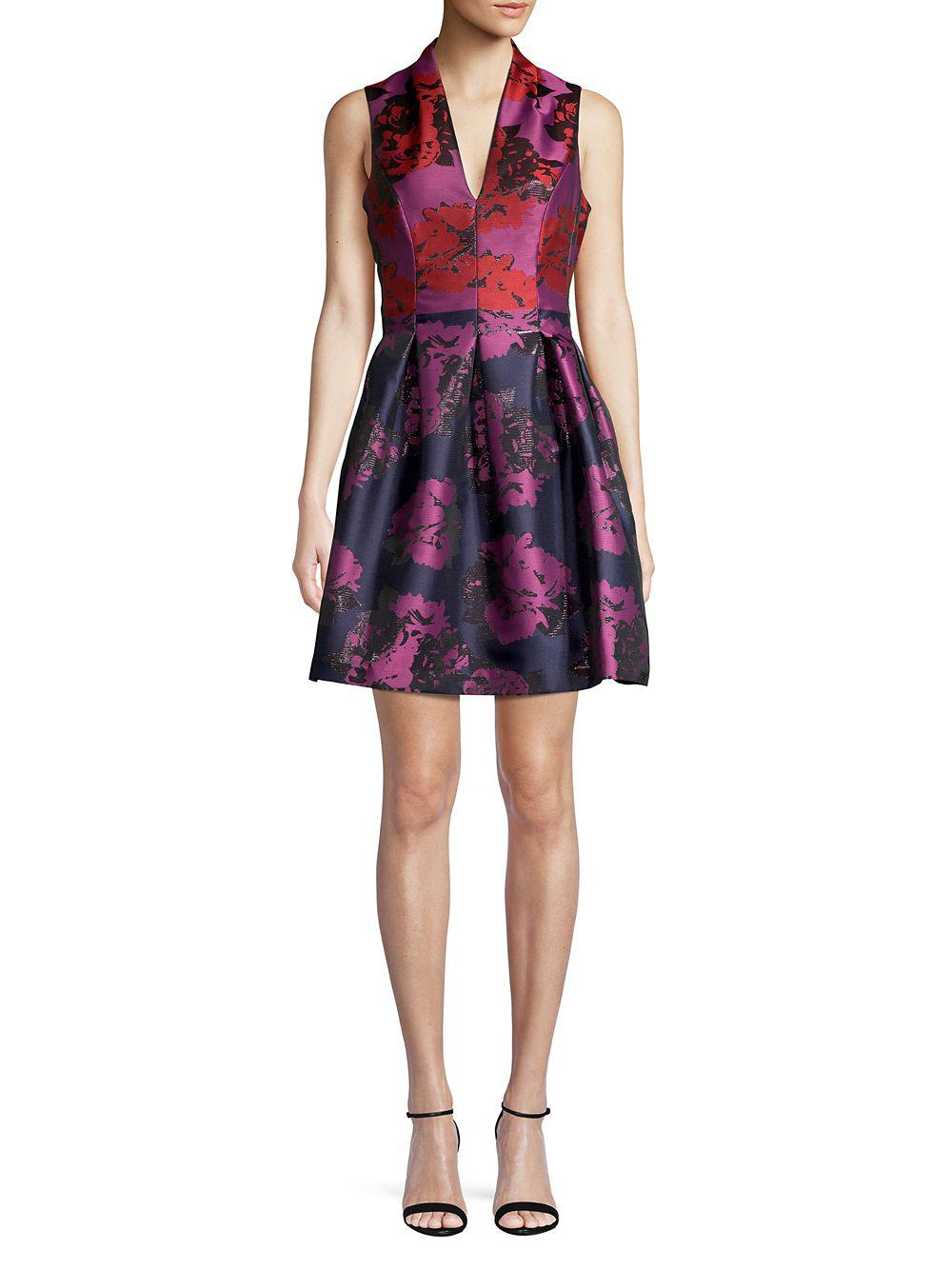 a4745ef7b09 Lyst - Vince Camuto Floral Fit- -flare Dress in Blue
