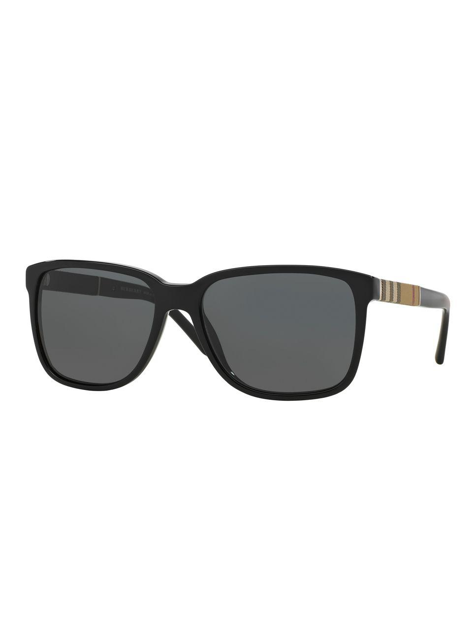 45380a5fceb09 Burberry - Black 58mm Check-print Wayfarer Sunglasses for Men - Lyst. View  fullscreen