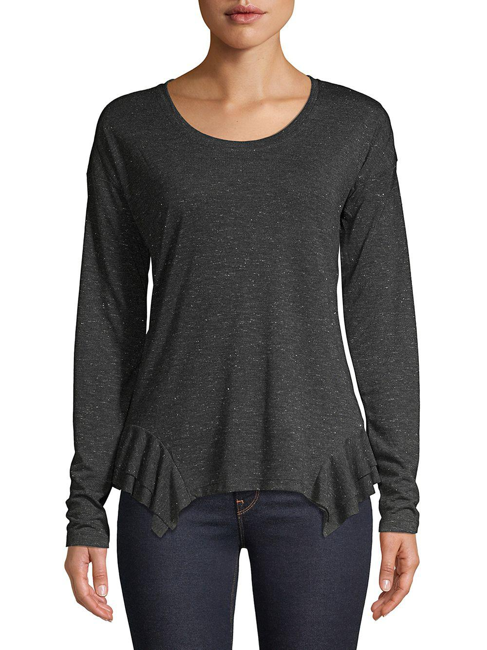 000afd106a2bb Lord   Taylor Ruffle Long-sleeve Top in Gray - Lyst