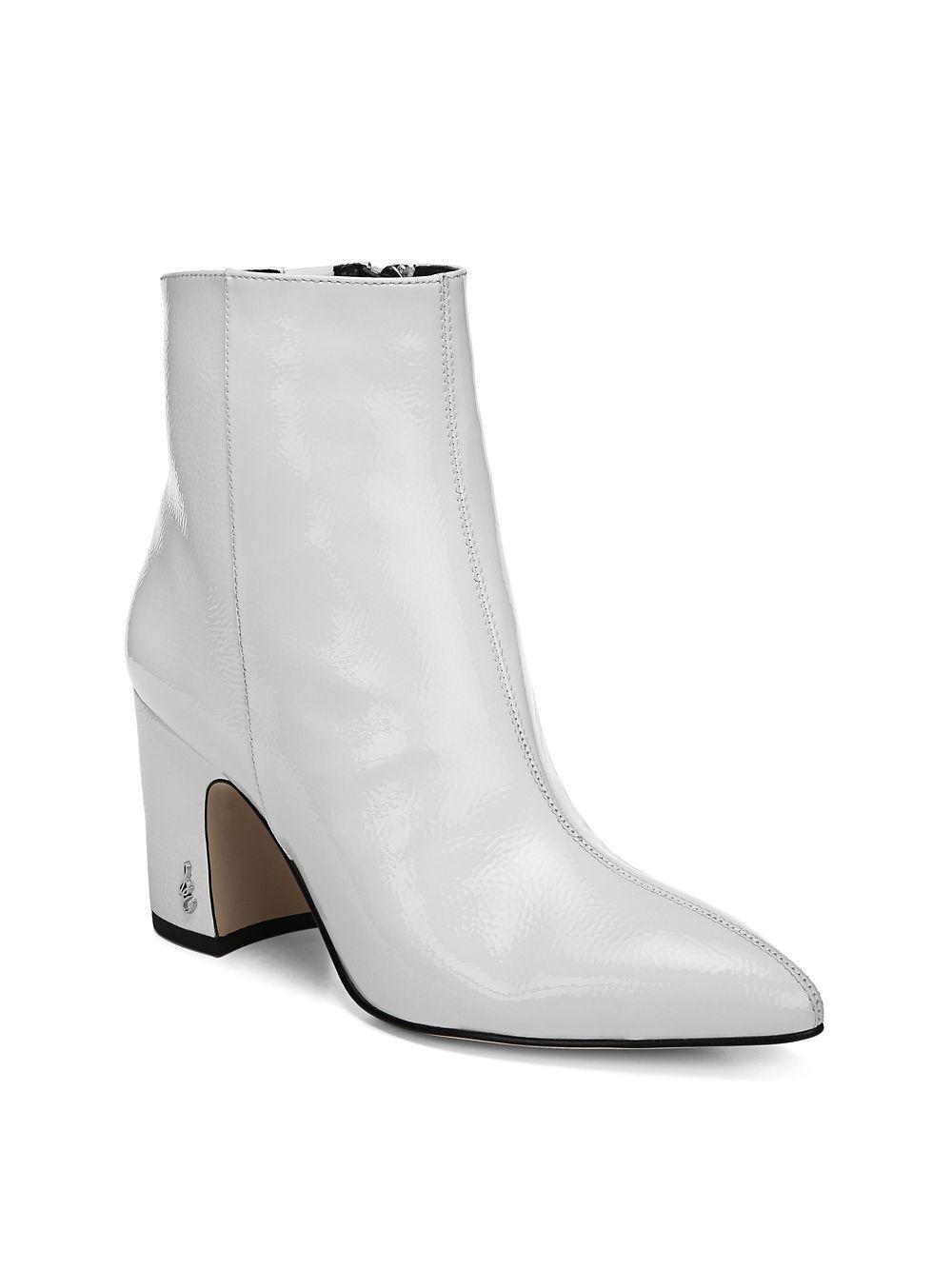 c8e601a7e048 Sam Edelman Hilty 2 Patent Boots in White - Lyst