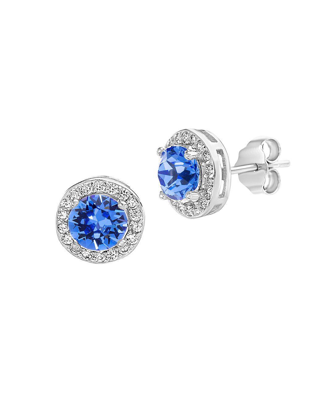 aeb8ada573c09d Lord   Taylor. Women s Blue 925 Sterling Silver   Swarovski Crystal Halo  Stud Earrings