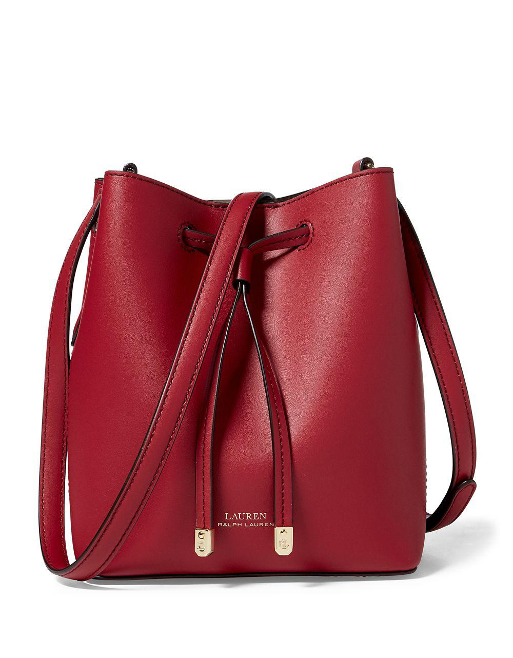 637f7ef164 ... uk lauren by ralph lauren dryden drawstring leather mini bucket bag in  d8124 0e765