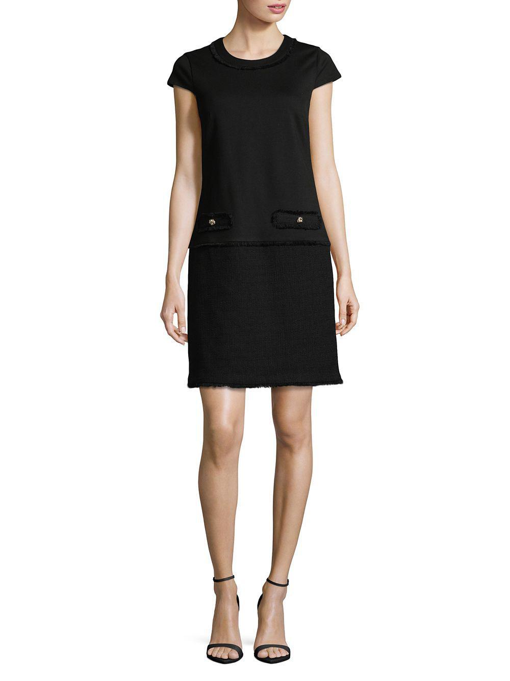 f90678a8a59e Lyst - Karl Lagerfeld Frayed Tweed Shift Dress in Black