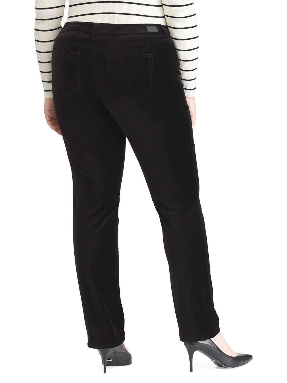 e2ec9cbdb7146 Lauren by Ralph Lauren - Black Plus Plus Stretch Velvet Premier Straight  Pants - Lyst. View fullscreen