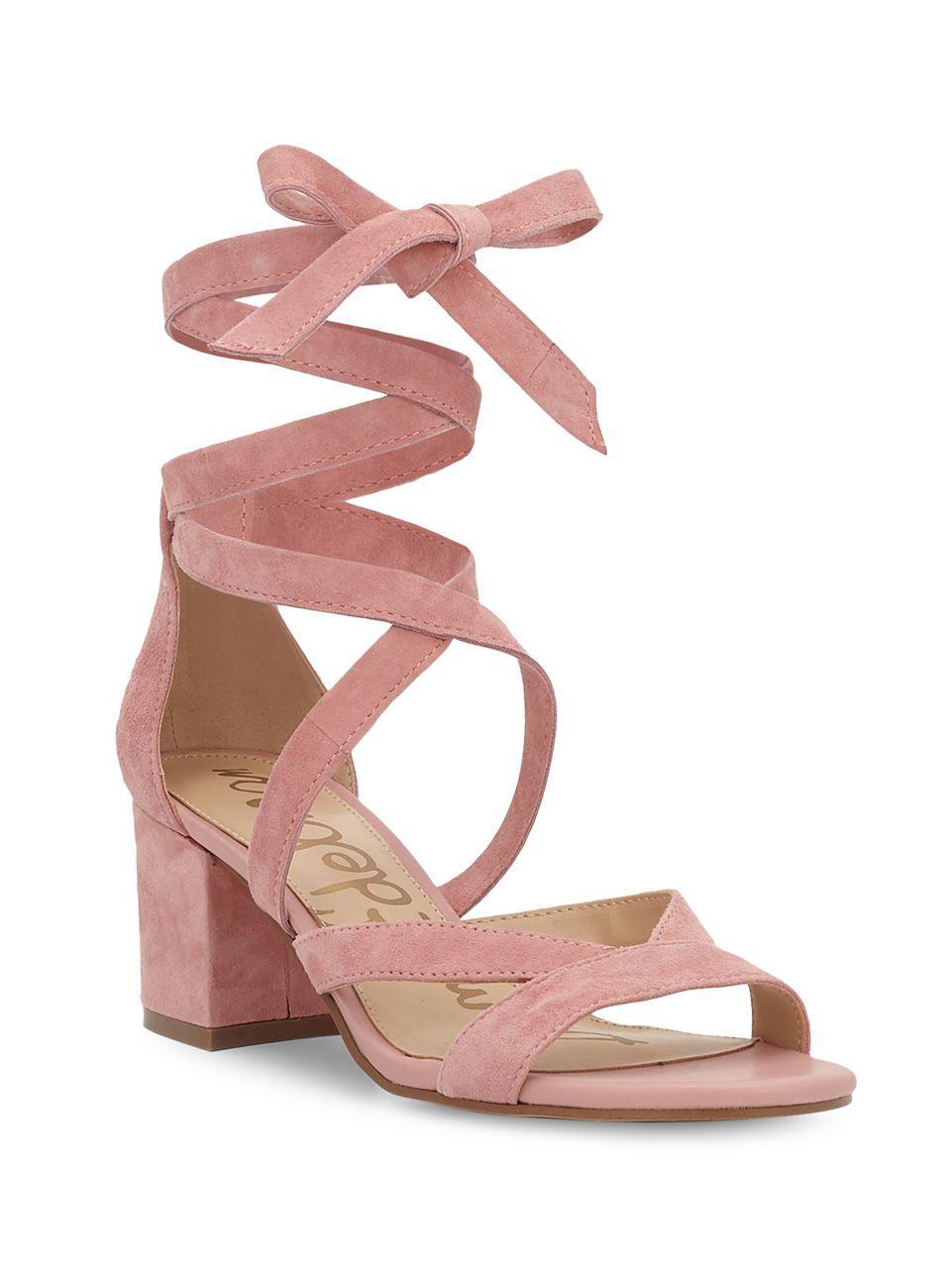 e4697fe8ca24 Lyst - Sam Edelman Sheri Suede Block Heel Sandals in Pink
