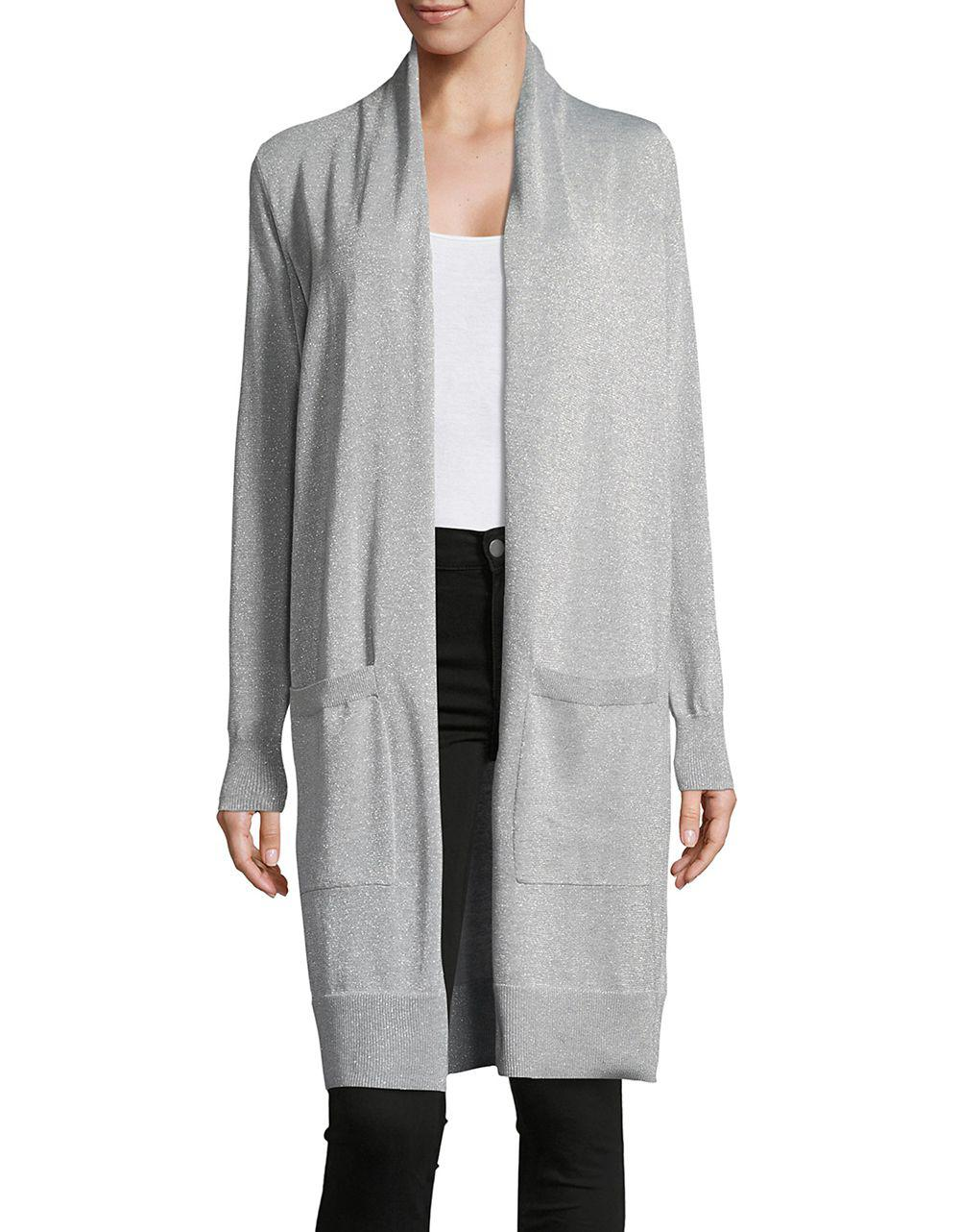 Michael michael kors Knit Open-front Duster Cardigan in Gray | Lyst
