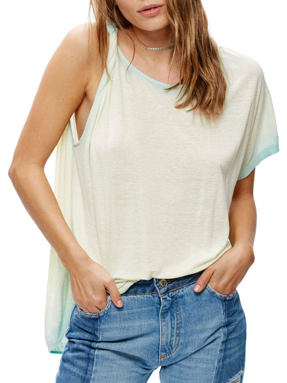 897183cb948aba Lyst - Free People Pluto One-shoulder Top in Blue
