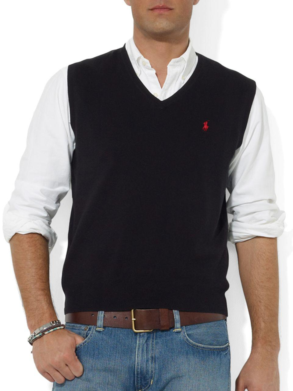 Polo ralph lauren Pima Cotton V-neck Sweater Vest in Black for Men ...