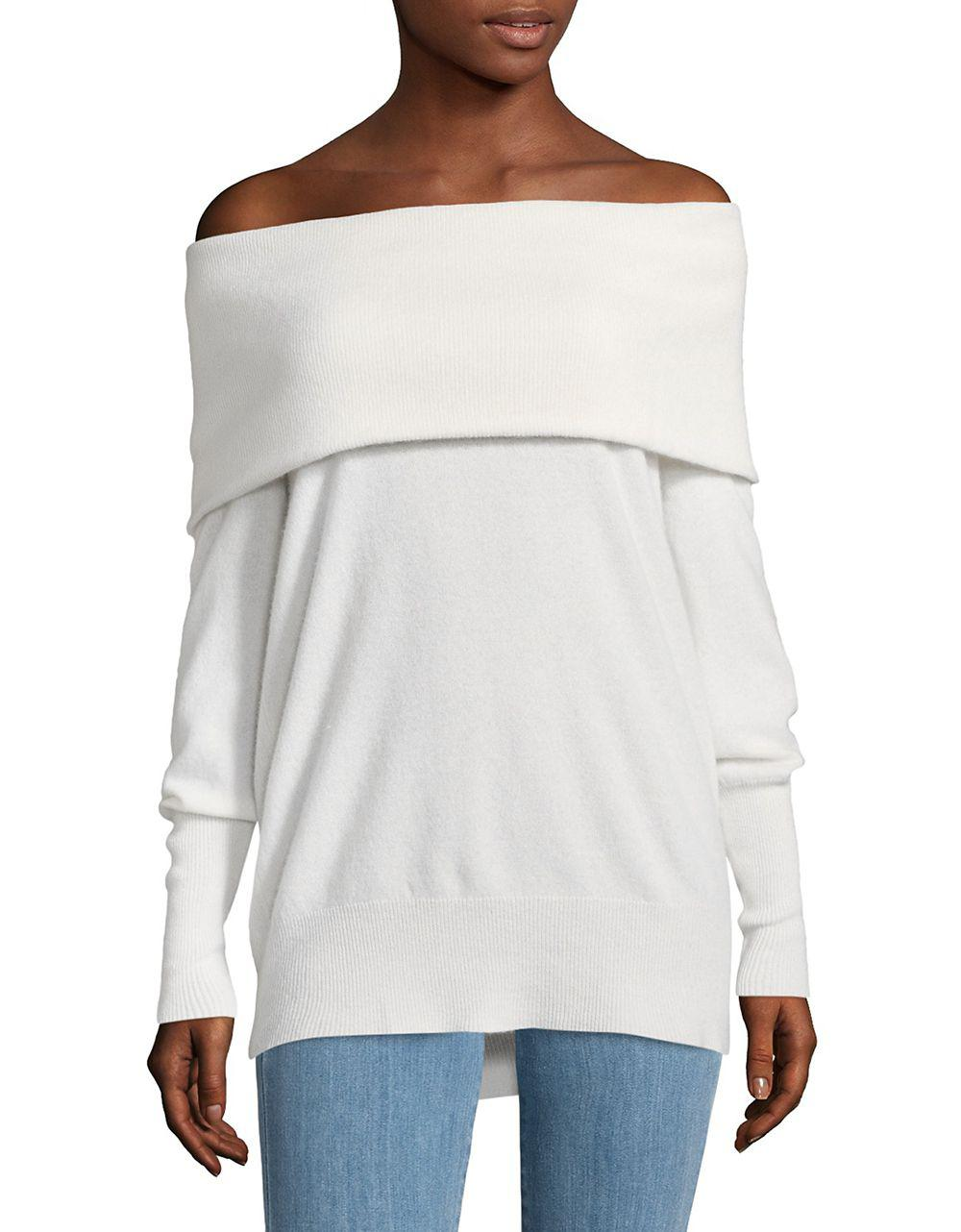 Lord & taylor Off-the-shoulder Cashmere Sweater in White | Lyst