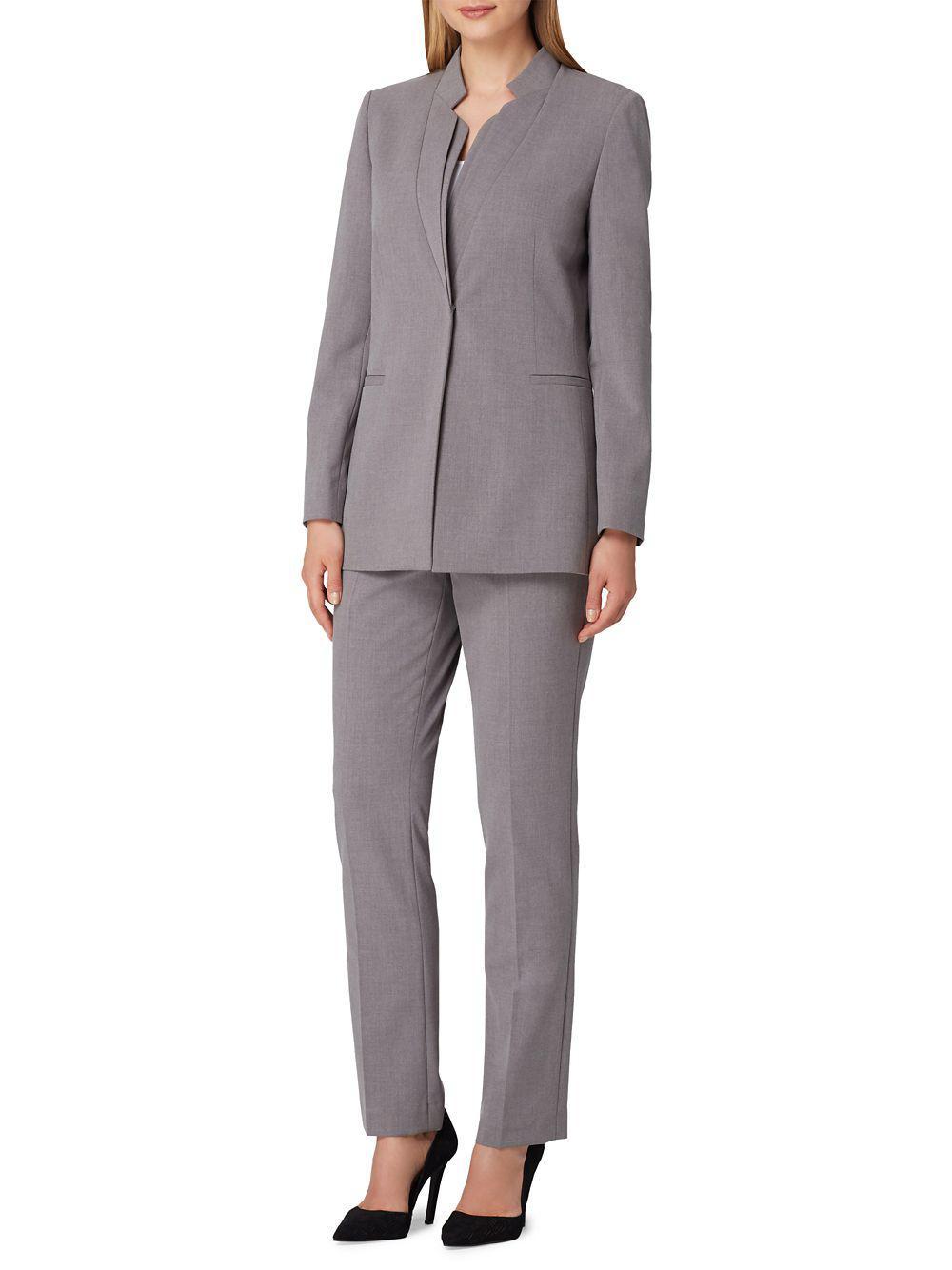 d4147c84546b6 Tahari Double Starneck Pant Suit in Gray - Lyst