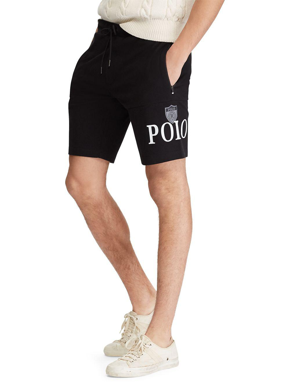 a14646380005 Polo Ralph Lauren Jersey Track Shorts in Black for Men - Lyst