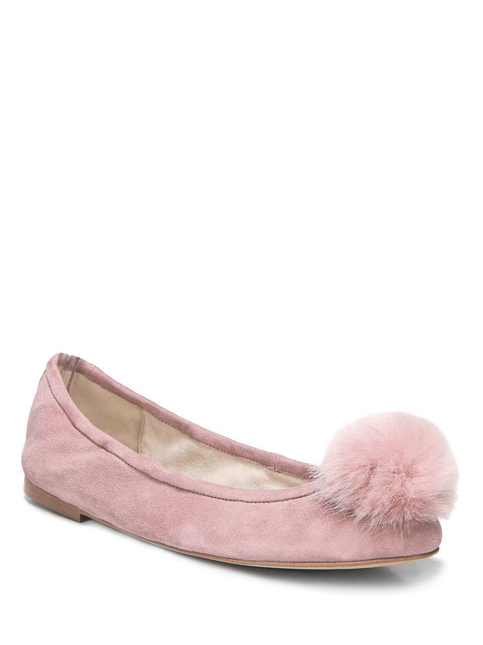 97107d84f Lyst - Sam Edelman Farina Faux Fur Pom-accented Flats in Purple