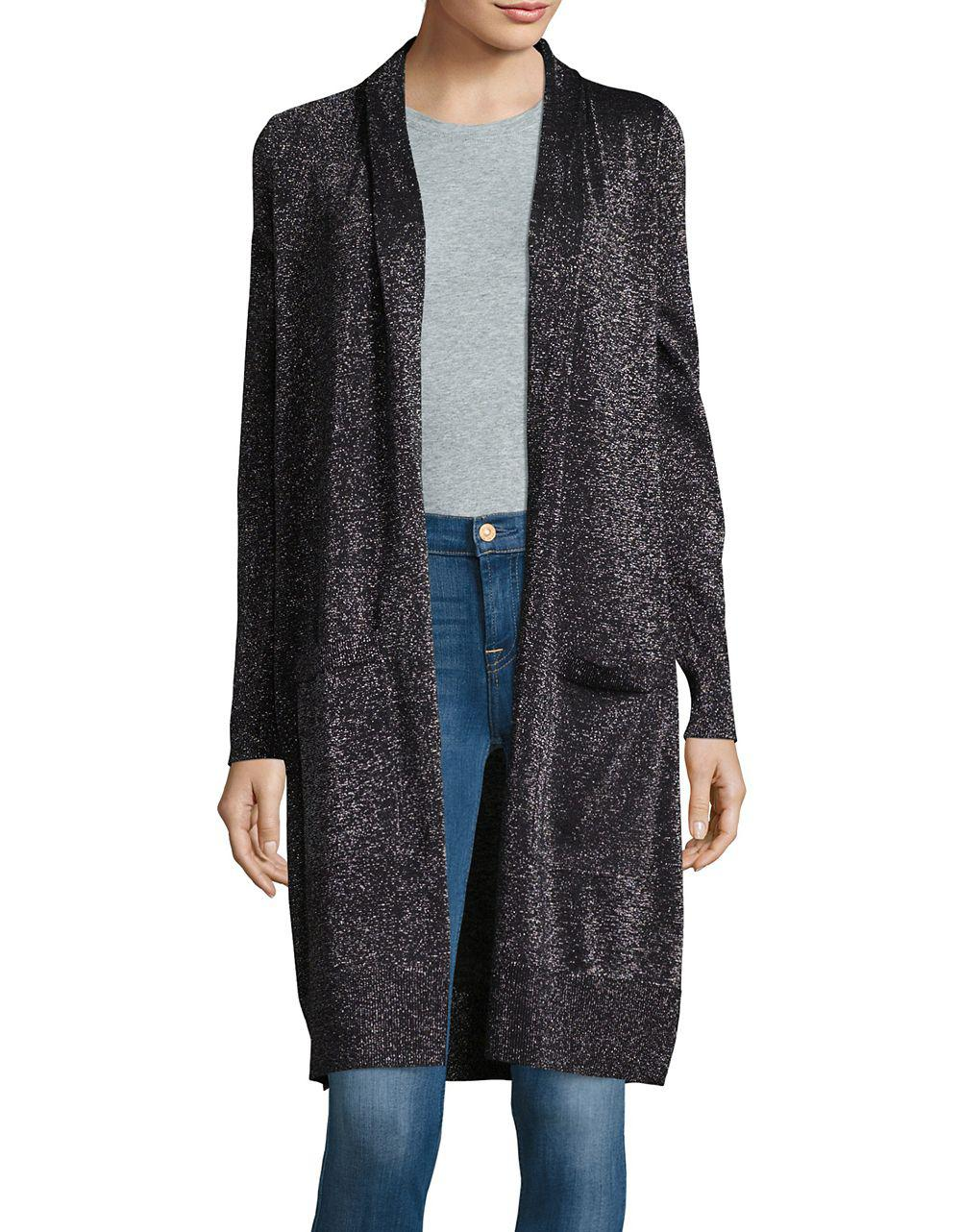 Michael michael kors Knit Open-front Duster Cardigan in Black | Lyst