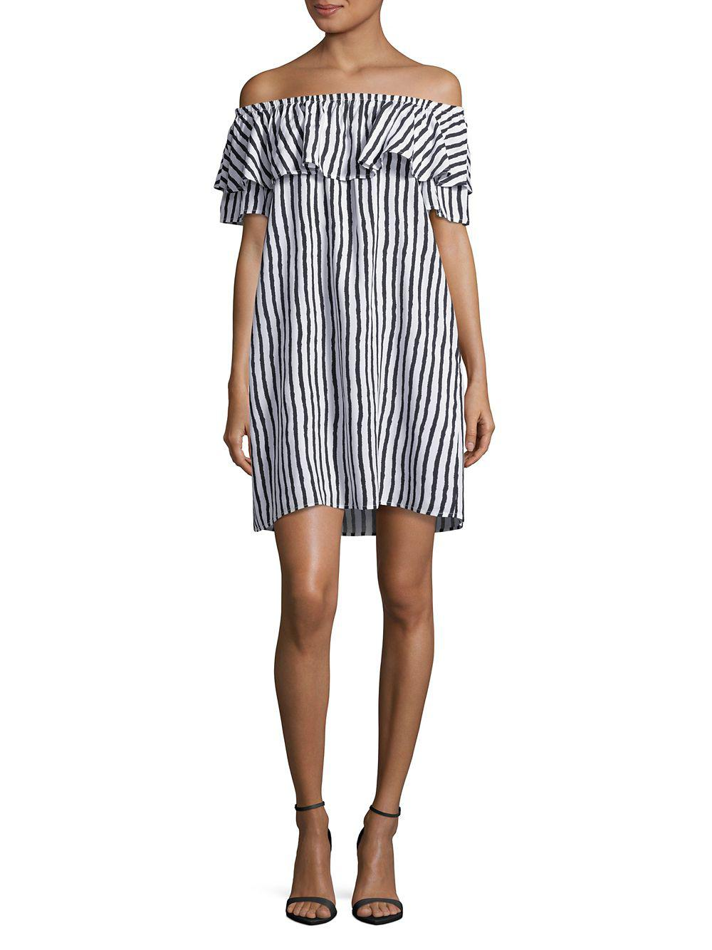 Lyst Lord Taylor Striped Off The Shoulder Ruffle Dress In White