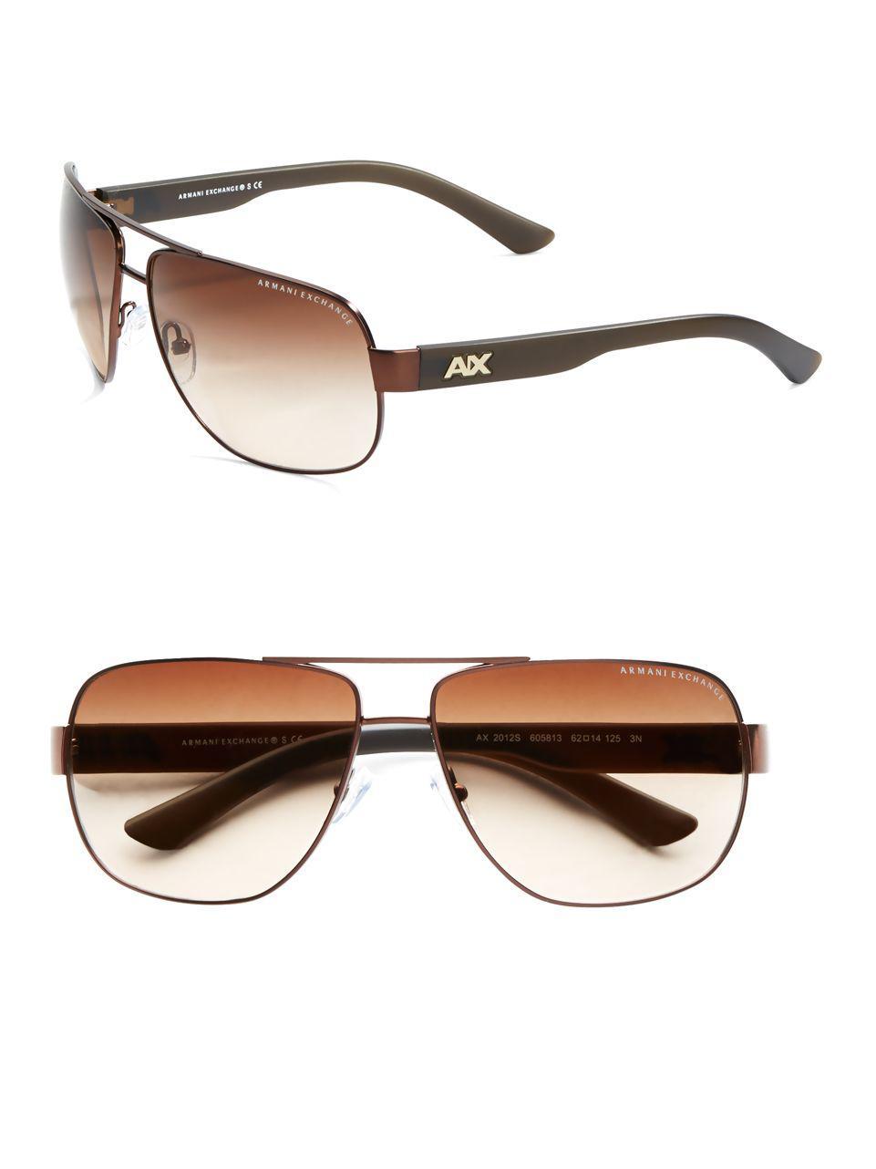 36f7caf53 Armani Exchange - Brown 63.5mm Modern Aviator Sunglasses for Men - Lyst.  View fullscreen