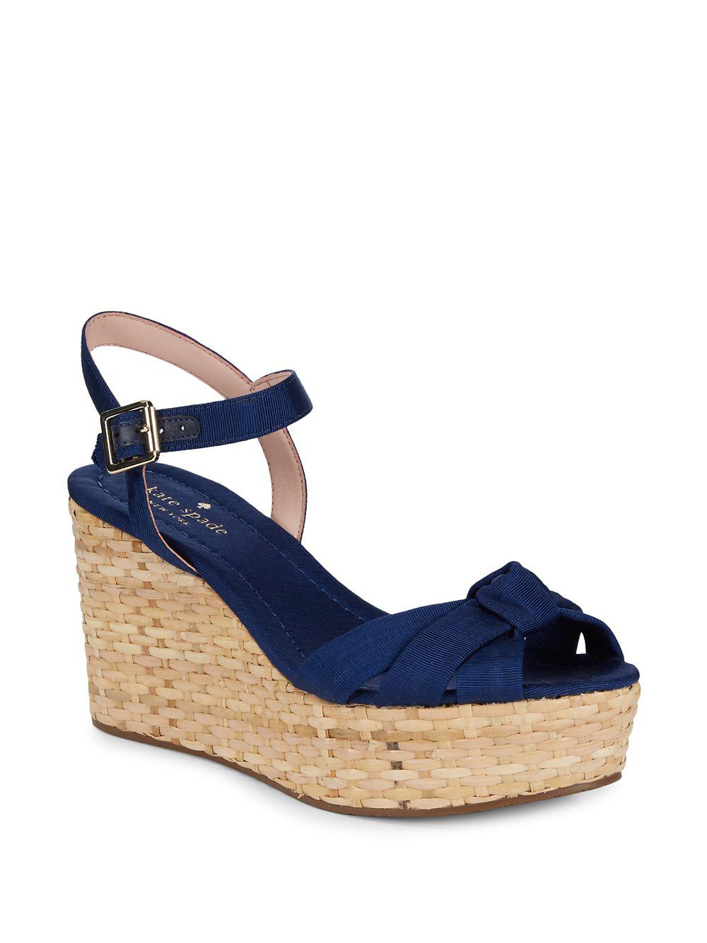 d799267b751 Kate Spade Tilly Basket-weave Wedge Sandals in Blue - Lyst