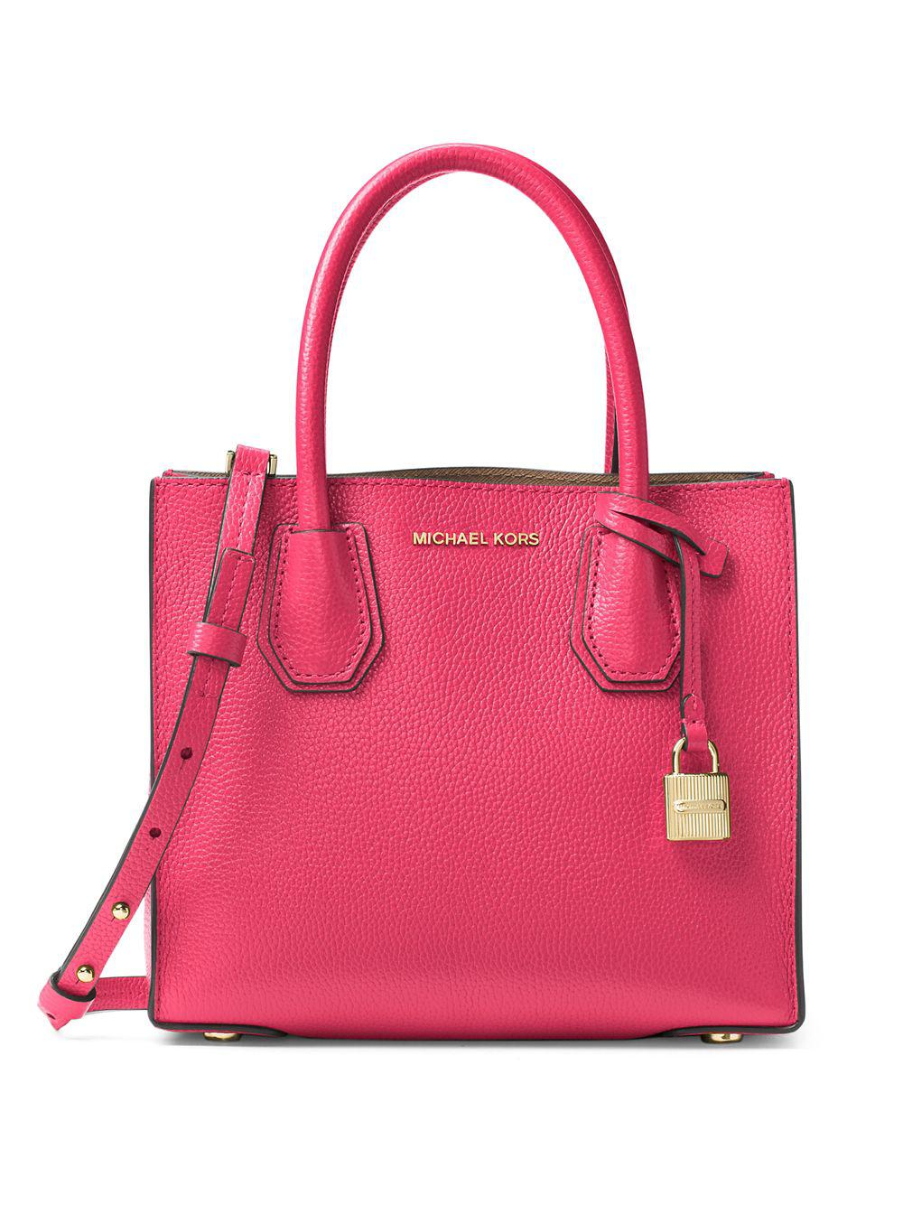 a28d2cc6b571 Michael Michael Kors Mercer Leather Crossbody in Pink - Lyst