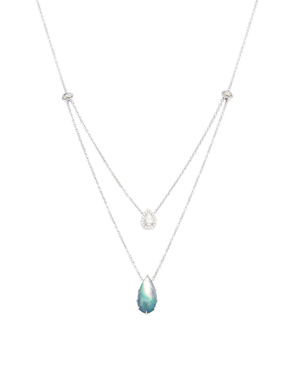 3316cdd9fed0 Lyst - Nadri Gris Crystal And Clear Quartz Double Pendant Necklace ...