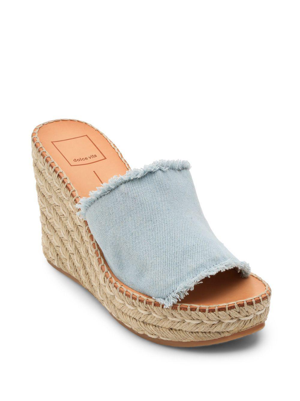 d2b79fb0437 Dolce Vita - Blue Pim Denim Wedge Sandals - Lyst. View fullscreen