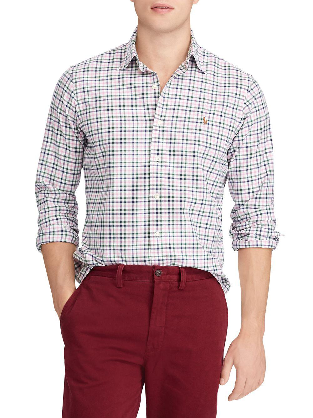 e9a4c46fc9 Polo Ralph Lauren Classic-fit Plaid Oxford Shirt in Pink for Men - Lyst