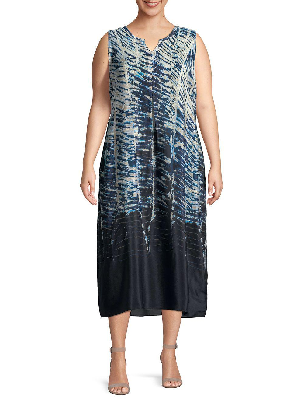 c6932a4e745 Lyst - Nic+Zoe Plus Tinago Printed Sleeveless Dress in Blue