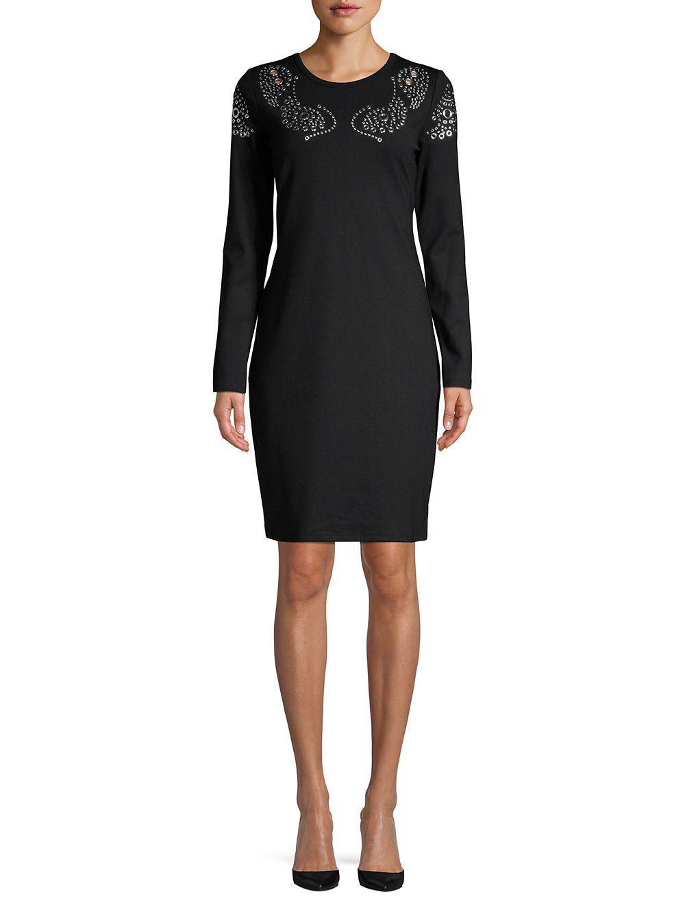 f83448400d Lyst - Michael Michael Kors Grommet Embellished Sheath Dress in Black