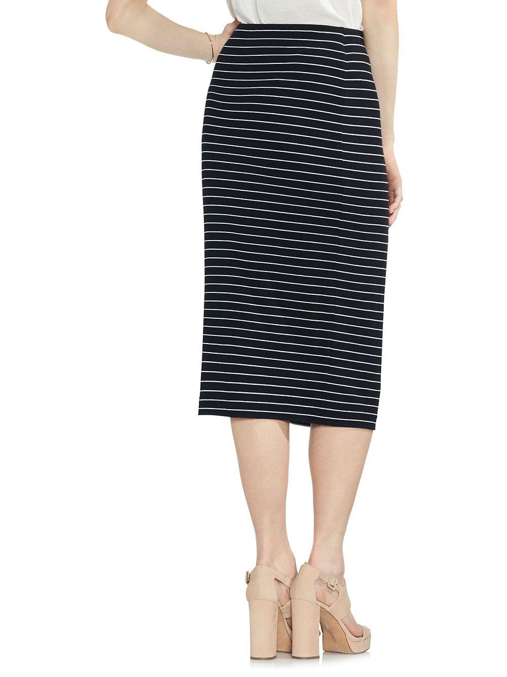 e4f505755 Vince Camuto - Black Striped Ribbed Midi Skirt - Lyst. View fullscreen