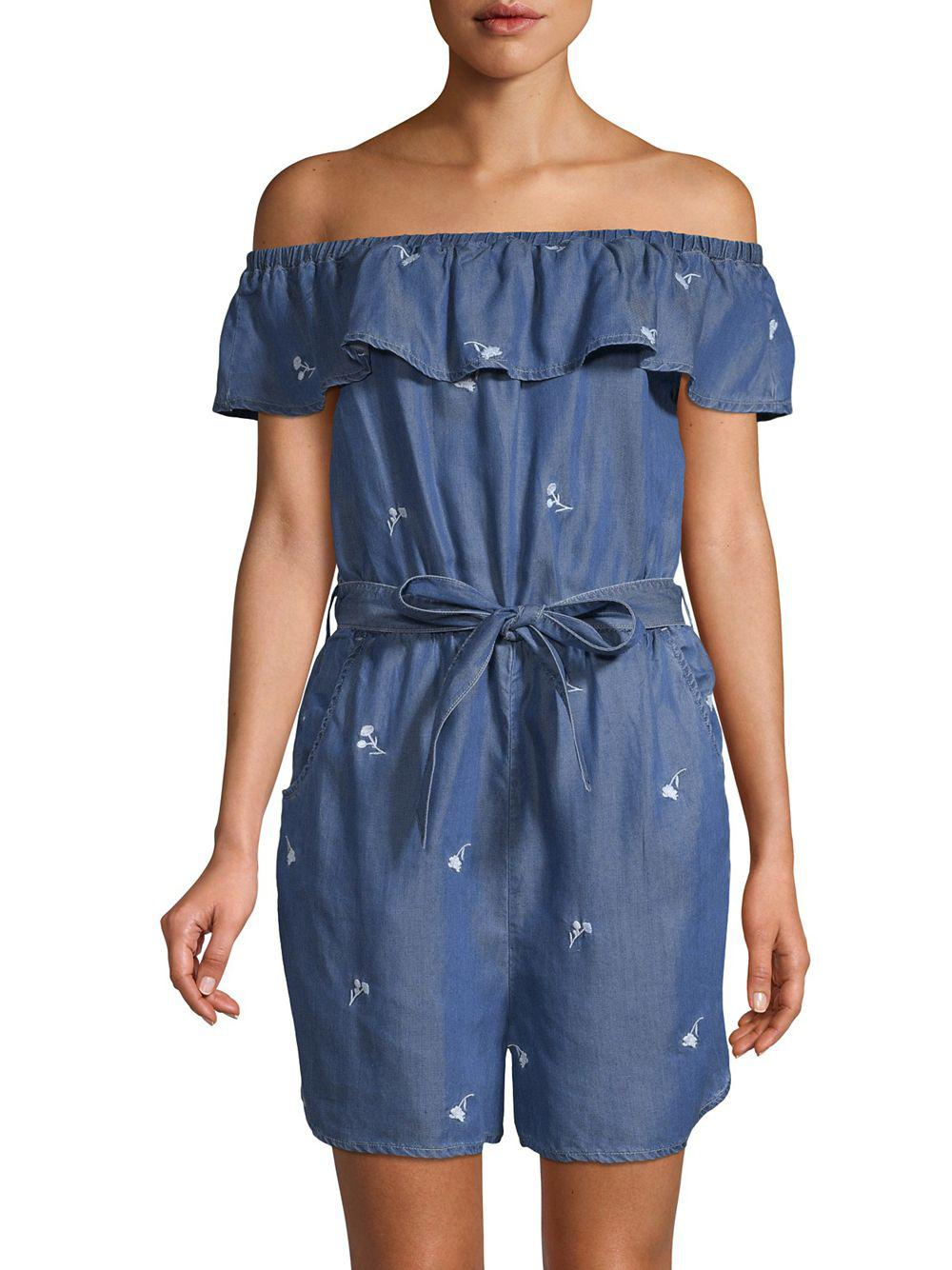 ff4aaabd07d Lyst - Miss Selfridge Embroidered Bardot Playsuit in Blue