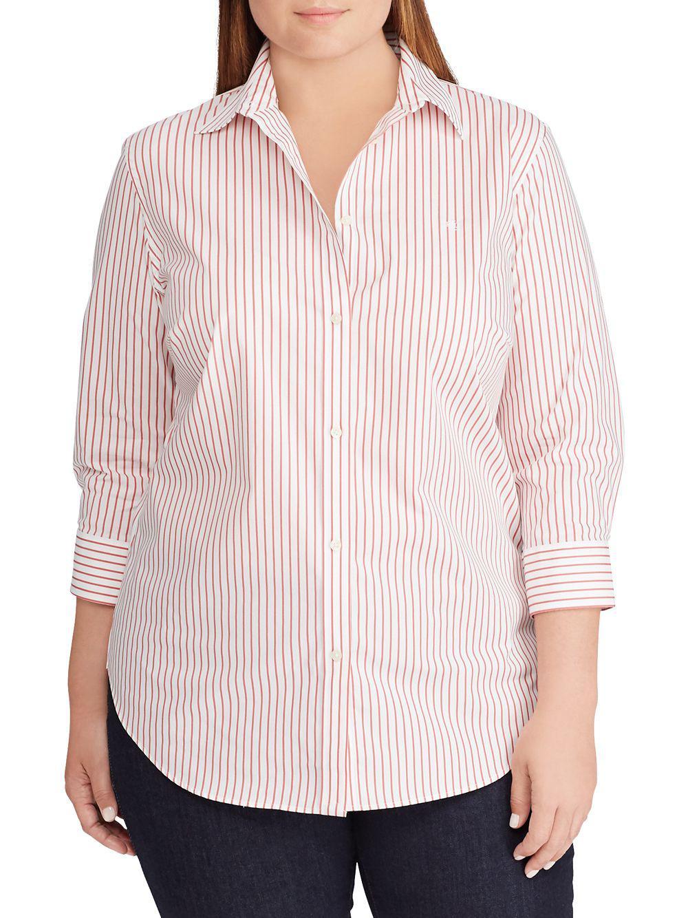 2caf83e04c1fc Lauren By Ralph Lauren Plus No-iron Pinstripe Shirt in Pink - Lyst