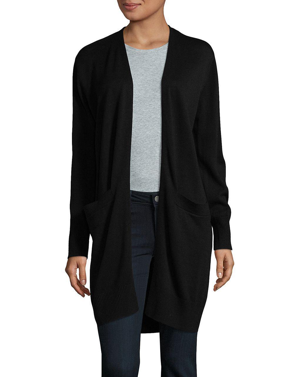 Donna karan Long Sleeve Open Front Cardigan in Black | Lyst