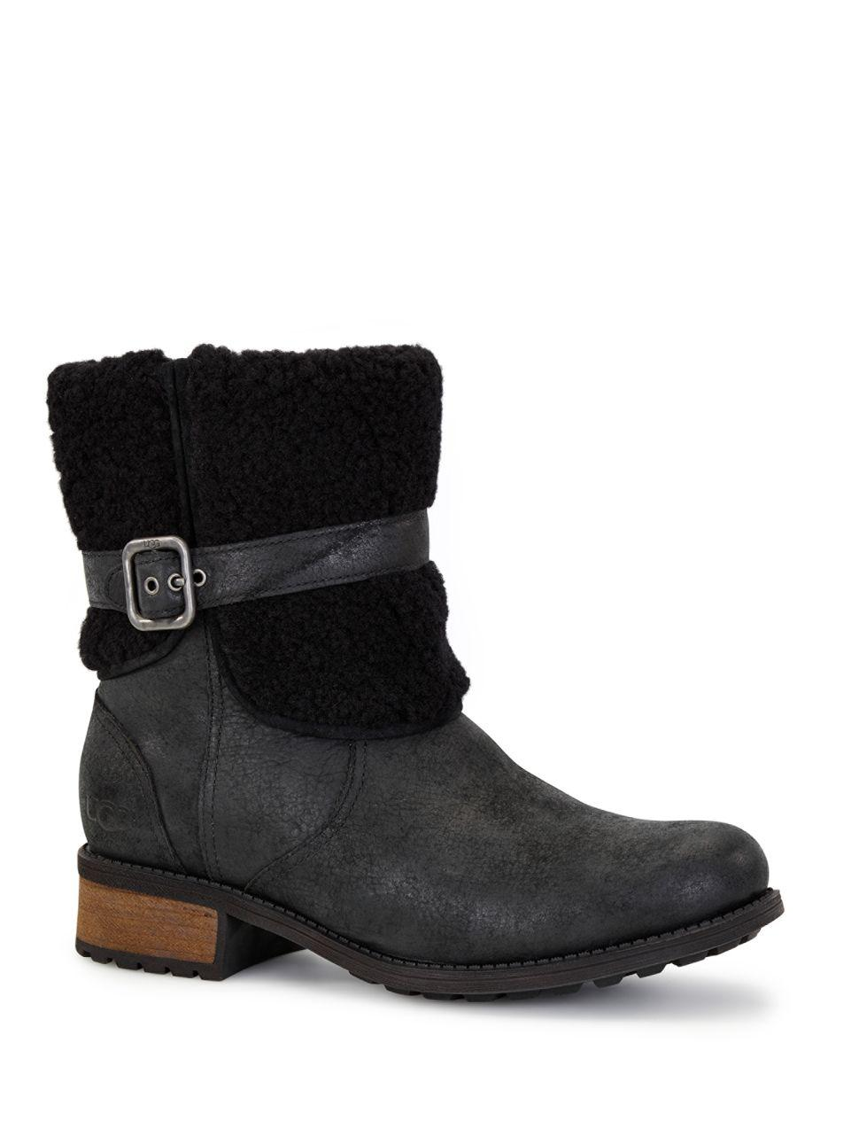 457a38d8b04 UGG Blayre Ii Shearling Cuff Suede Boots in Black - Lyst