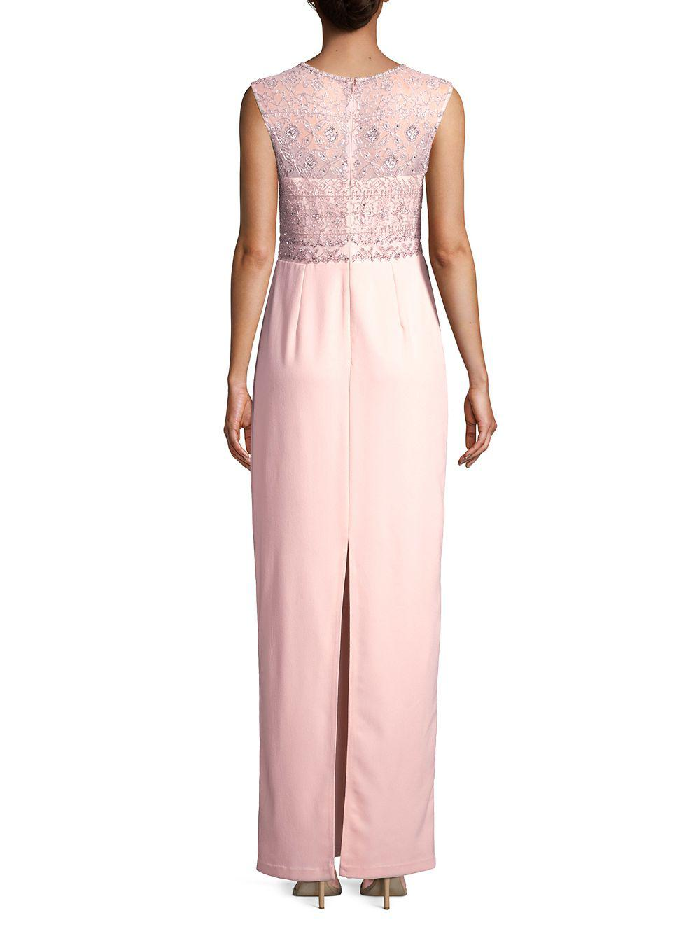 80e3aaddd9403 Adrianna Papell - Pink Beaded Sleeveless Long Dress - Lyst. View fullscreen