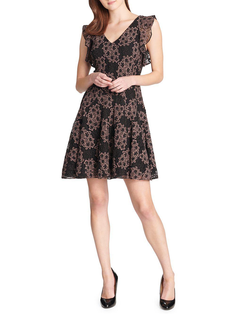 9315b39bd50 Tommy Hilfiger Floral Lace Flutter-sleeve Fit-&-flare Dress in Black ...