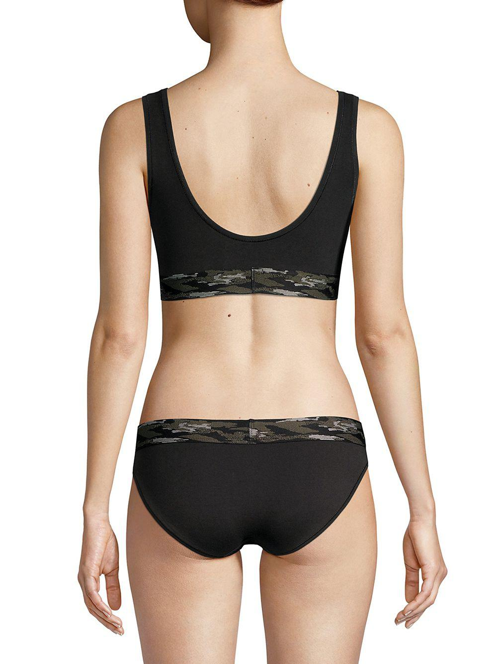 b0790c5e6ebf68 Calvin Klein - Black Camo Cotton Unlined Bralette - Lyst. View fullscreen