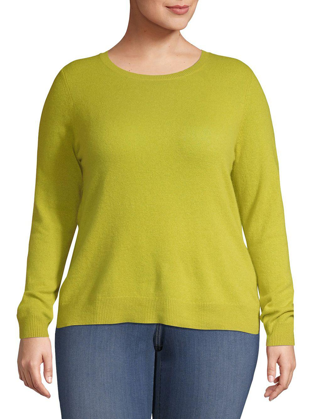 95bed4b846774 Lyst - Lord   Taylor Plus Essential Cashmere Crewneck Sweater in Yellow