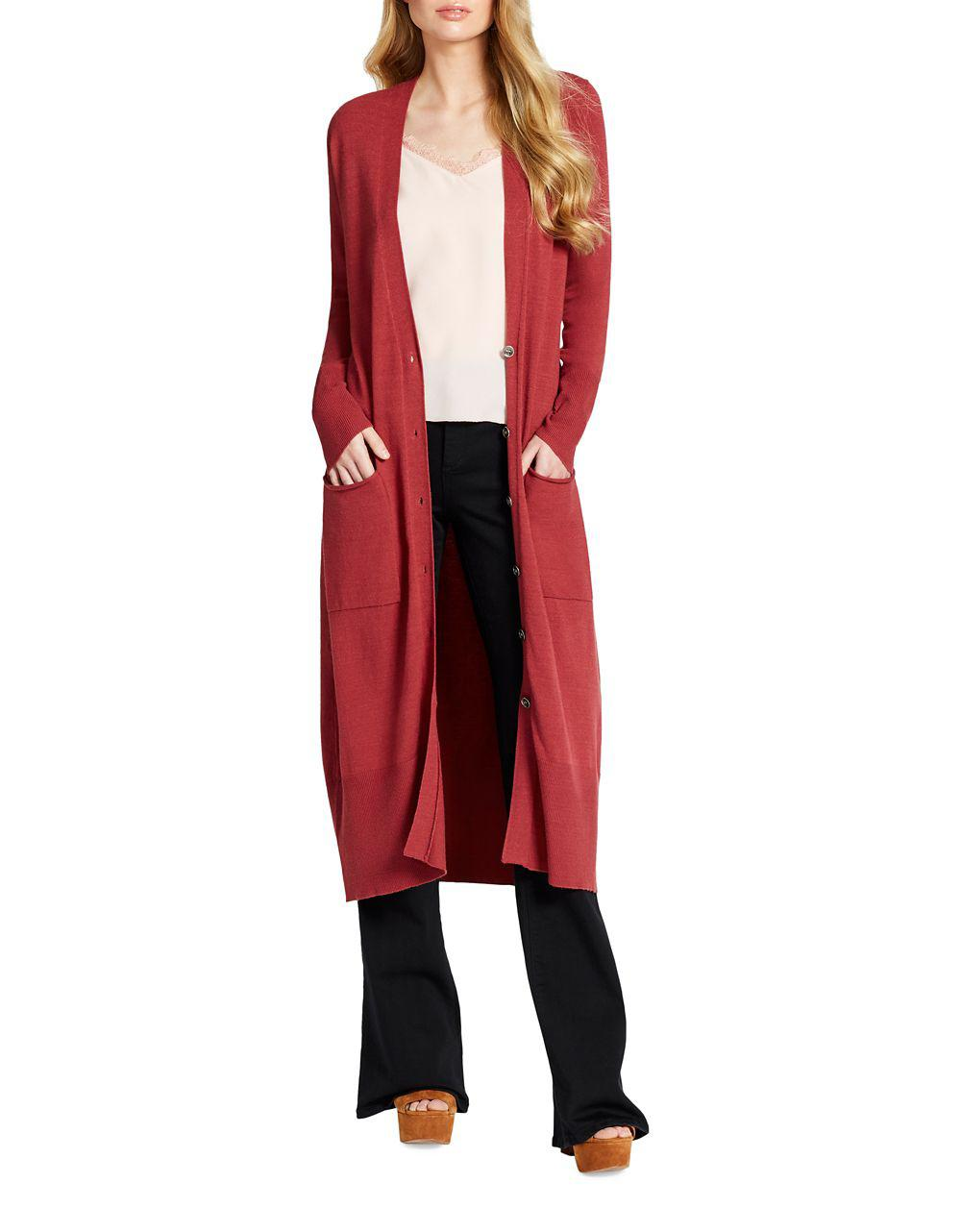 Jessica simpson Maxi Duster Cardigan in Red | Lyst