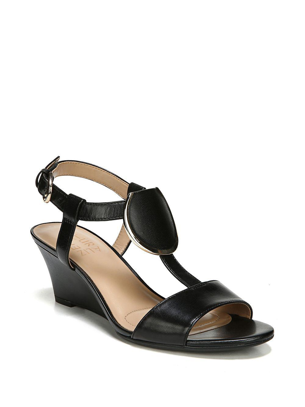 e4b9fdd16c11 Naturalizer Talli Leather T-strap Wedge Sandals in Black - Lyst