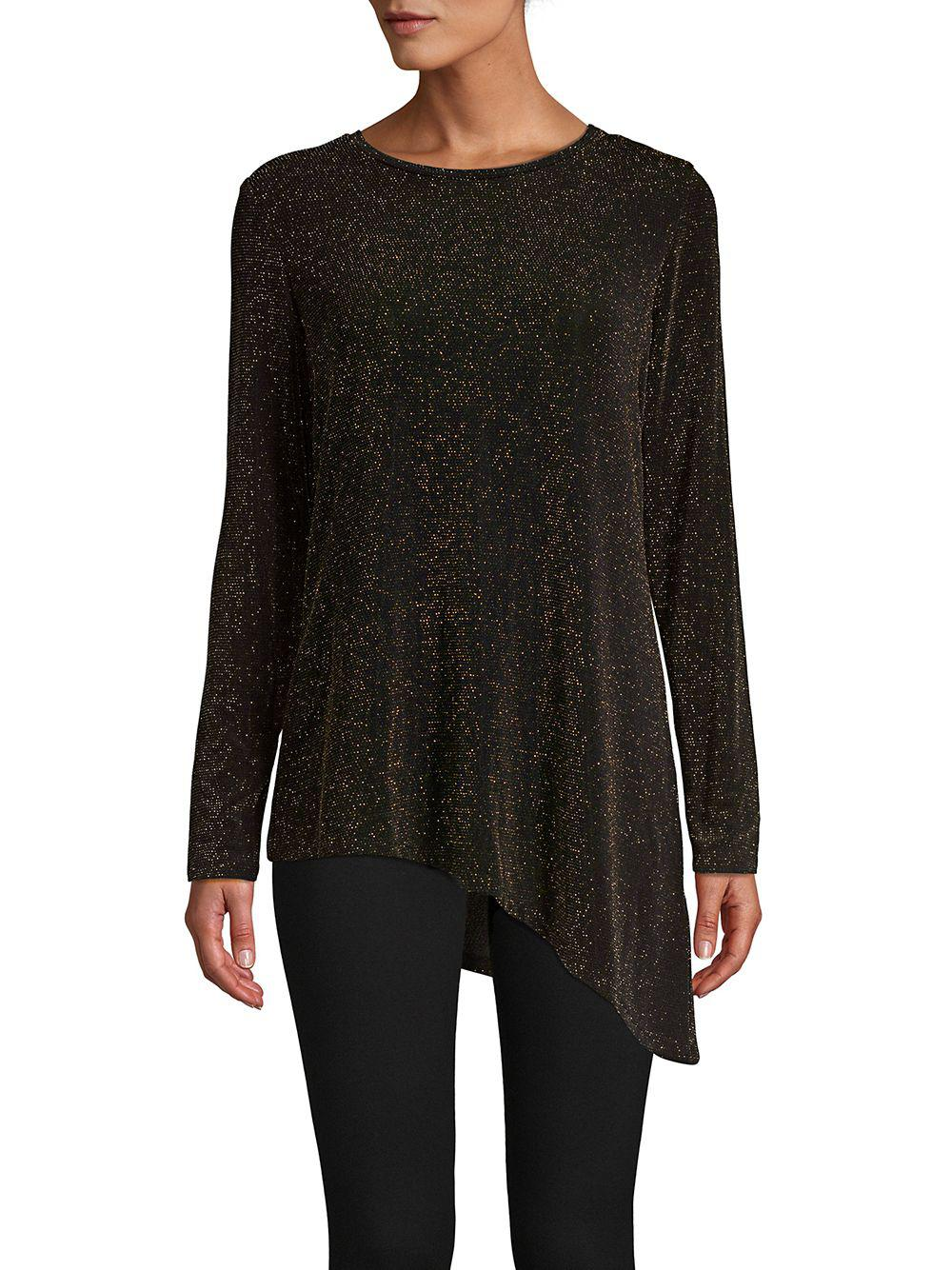 a71cd466b61 Lyst - Calvin Klein Asymmetric Knit Top in Black