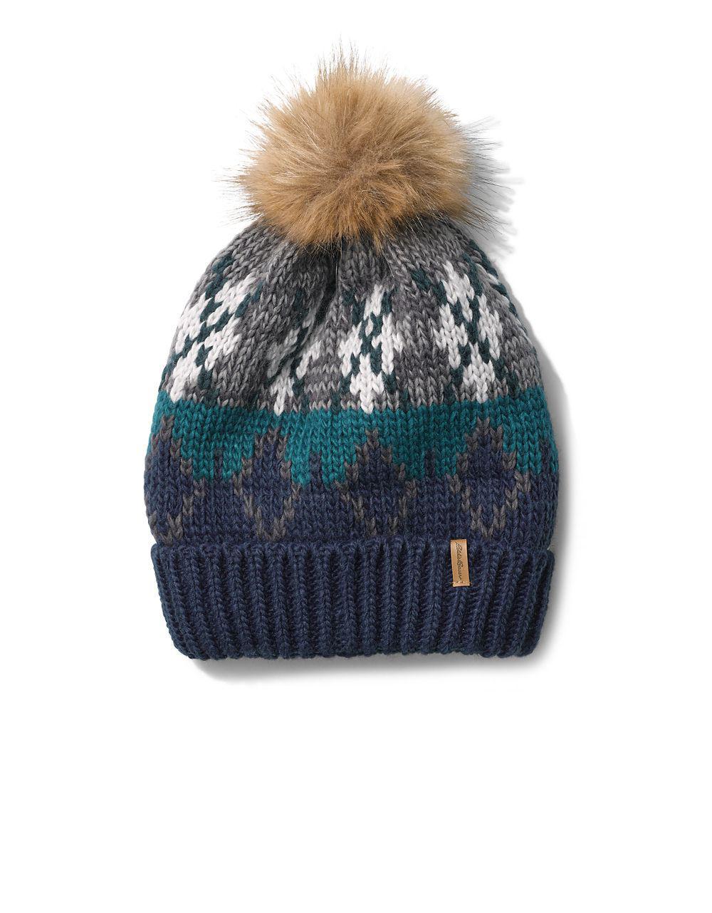 bf9c0dc30b7 Lyst eddie bauer cabin faux fur pom beanie in blue jpg 1000x1282 Beanie  eddie bauer