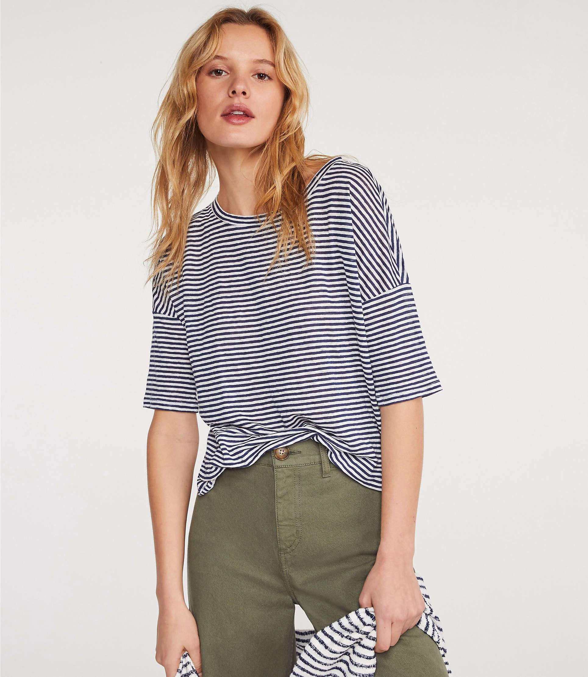 4ddc5d4762 Lyst - Lou & Grey Striped Softserve Linen Shirttail Tee in Blue