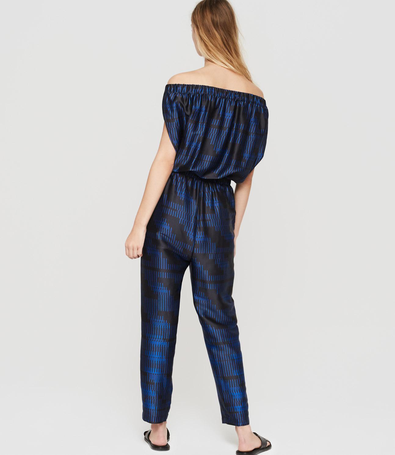 a369dd238448 Lyst - Lou   Grey Hotline Luster Off The Shoulder Jumpsuit in Blue