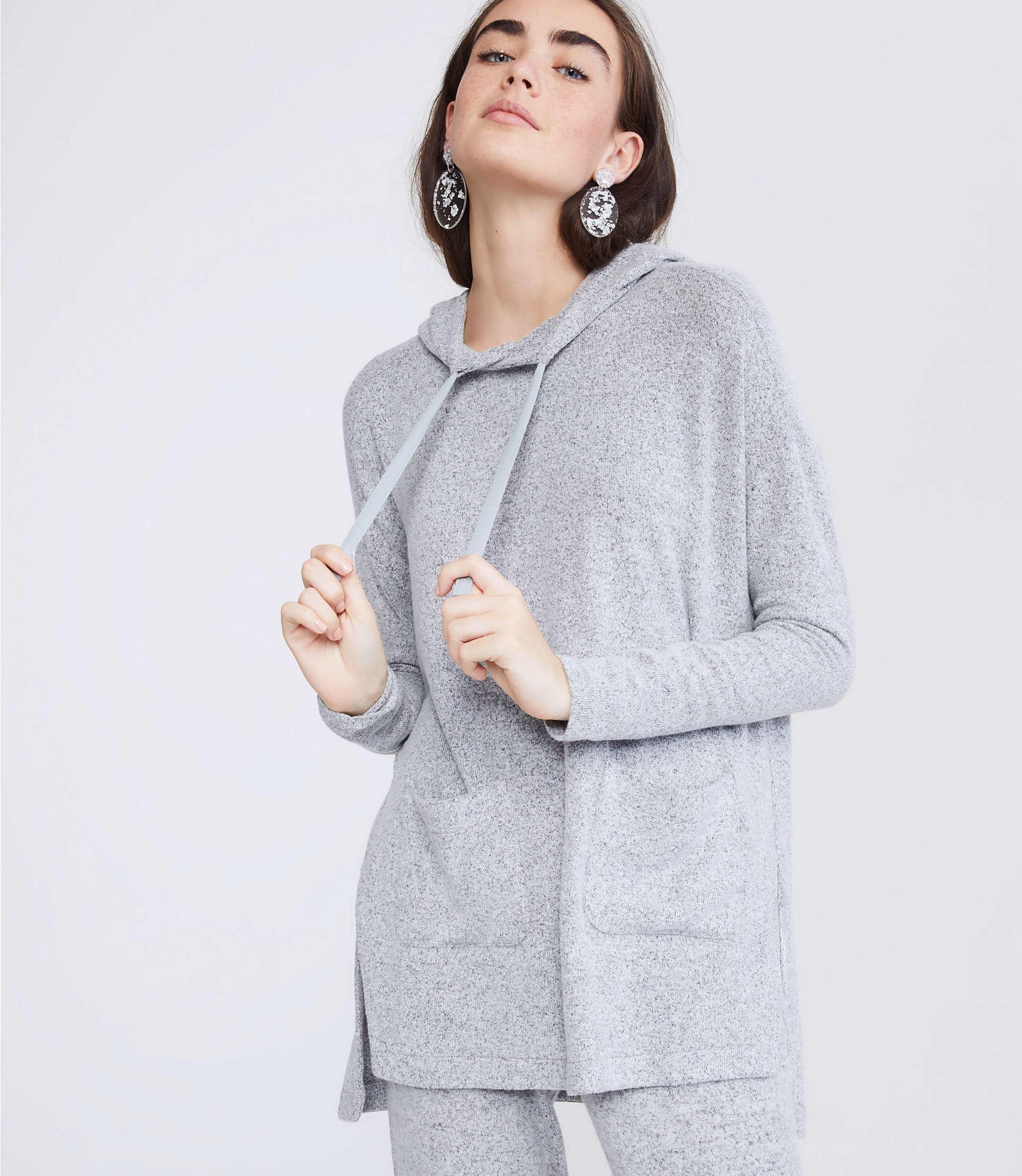 910cfdb20bd59 Lyst - Lou & Grey Brushmarl Pocket Hoodie Top in Gray