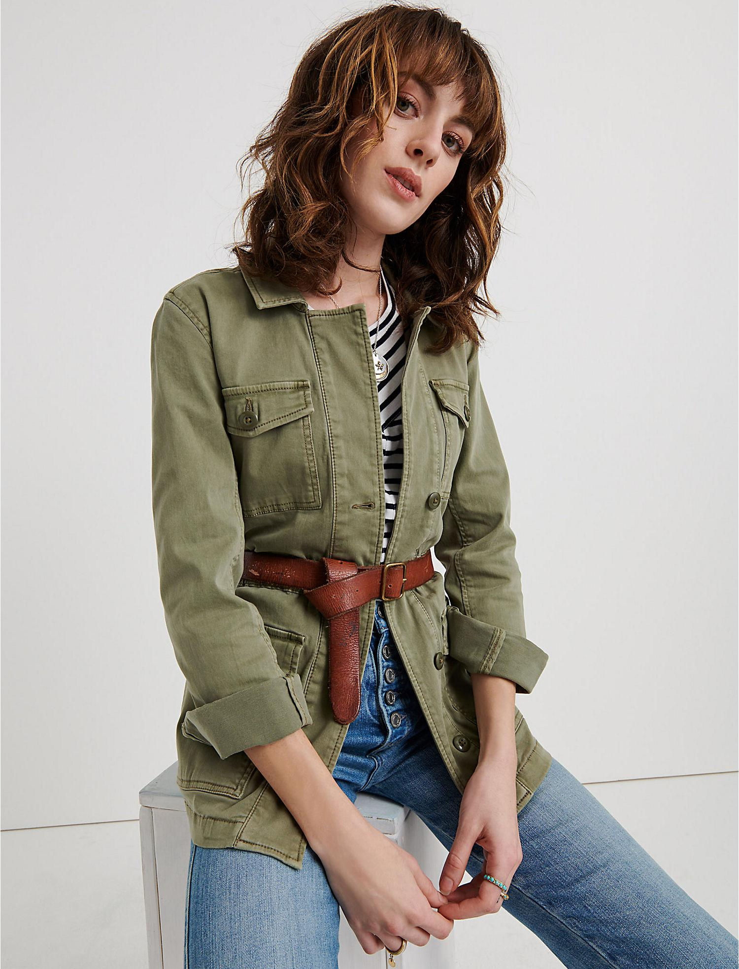 9bd2c7aed9c Lyst - Lucky Brand Laura Utility Jacket in Green