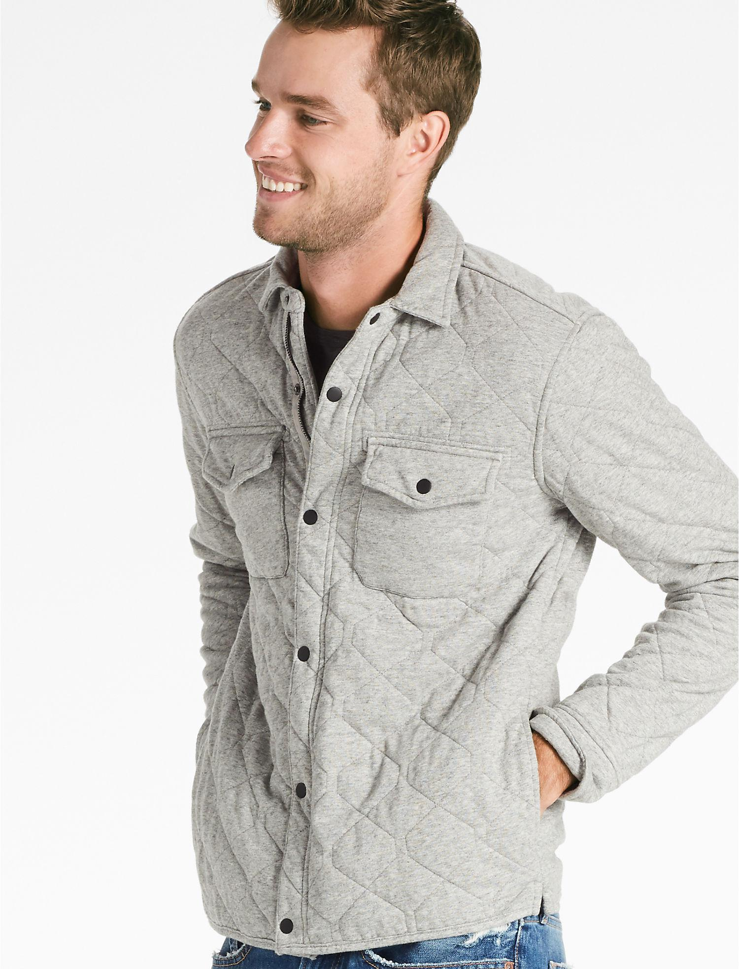 7e34a7f12c Lyst - Lucky Brand Quilted Western Shirt Jacket in Gray for Men