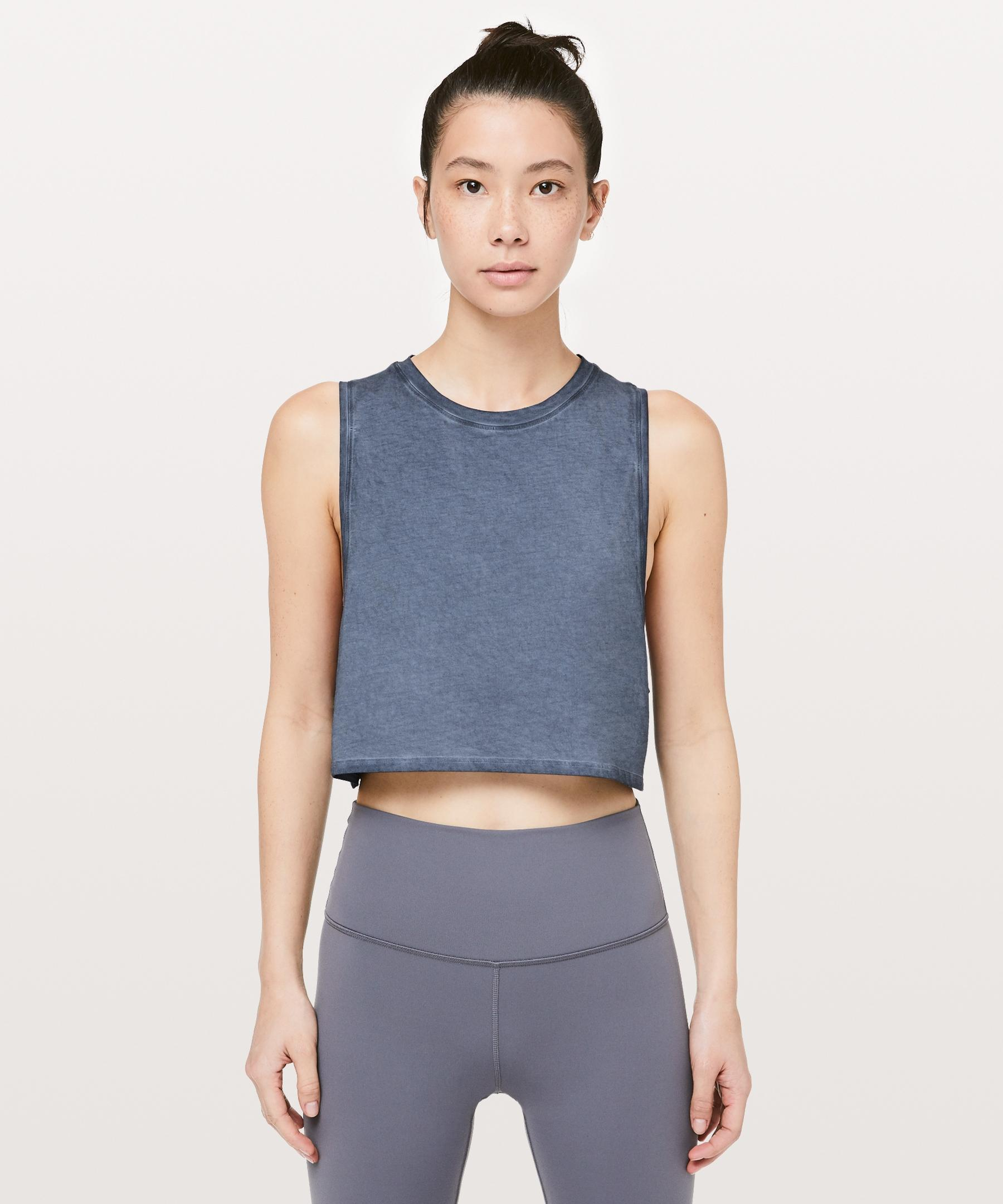 996c9a49aca996 Lyst - lululemon athletica Muscle Love Crop Tank  fade in Blue
